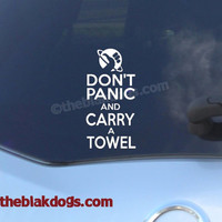 Don't Panic and Carry a Towel Vinyl Sticker Car Decal Hitchhiker's Guide to the Galaxy