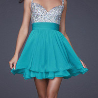 Shiny A-line Spaghetii Straps Mini Prom Dress