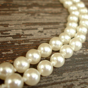 "Genuine Pearl Necklace, Vintage Ivory Pearl Necklace, 20"" Hand Knotted 6mm Cultured Pearls, Cream, Single Strand, Wedding Bridal Jewelry"