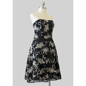 90s Party Dress, Cream Floral Applique Black Net Dress, 1990s Evening Dress, 1950s Style Spaghetti Strap Circle Skirt Crinoline Prom Dress