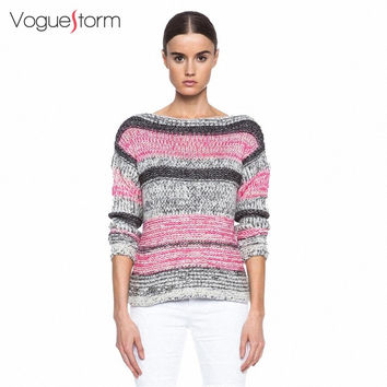 2016 Autumn New Arrival Colorful Striped Women Sweater Pullovers Long Sleeve  Loose Sweater Women Free Shipping
