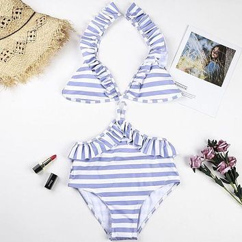 DCCKR2 Fashion hot selling striped printed flounces with a high-waisted swimsuit and sexy two-piece bikini