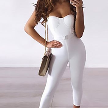 See Me Now White Sleeveless Spaghetti Strap Bustier Bandage Bodycon Skinny Jumpsuit