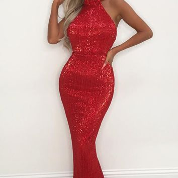 Winning Hearts Red Sequin Sleeveless Mock Neck Halter Mermaid Maxi Dress Evening Gown