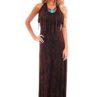 Brown Fringed Front Maxi Dress