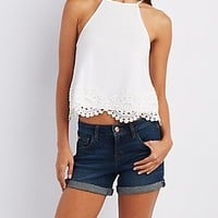 CROCHET-TRIM BIB NECK TOP