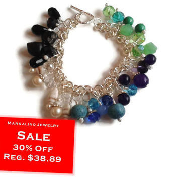 """Sale 30% Off Charm Bracelet - Multi-Colored Crystals and Gemstones in Silver - 7.5"""" - BRC076"""