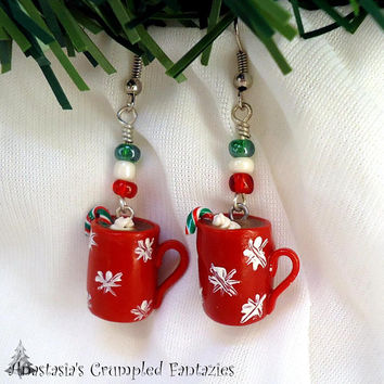Hot chocolate cup Christmas earrings, Mini coffee mug polymer clay fimo, Miniature food xmas stocking filler gift, Handmade kawaii charm