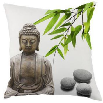Chinese Style Buddha Pillow Statue Stone Bronze Zen Fone Meditation Bamboo Decoration Linen Cushion For Home Chair Accessories
