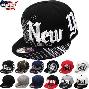 New York NY Embroidered Hip Hop Fitted Cap Hat Street Flat Brim