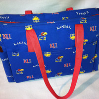 Kansas Jayhawk tote: great for overnight bag, carry-on bag, or even a large diaper bag