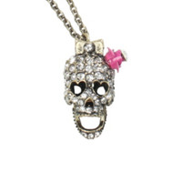 LOVEsick Gold Pink Rose Bling Skull Necklace