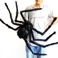 75cm Large Size Plush Spider Made Of Wire And Plush Halloween Props spider Funny Toy for party or Bar KTV halloween decoration
