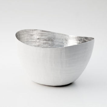 Paper Mache Vessel White and Silver The Wavy by etco on Etsy