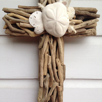 Driftwood Seashell Cross/Beach House Wall Decor