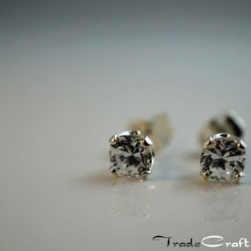 Cushion Cut 1/2 Carat each - 1ctw Cubic Zirconia Diamond Simulant Sterling Silver Stud Earrings