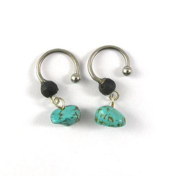 Turquoise Stones and wood beads with Dangle Piercing Earrings 16 gauge