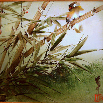 MID CENTURY BOUTANICAL Decorative Oil Painting Asian - Nature Bamboo & Bird - Ornate Frame - Impressionism