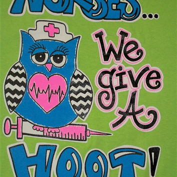 Southern Chics Funny Nurse Give a Hoot Chevron Owl Sweet Girlie Bright T Shirt