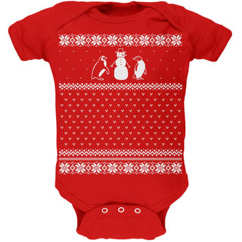 Penguins Ugly Christmas Sweater Red Baby One Piece