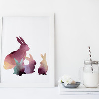 Rabbit wall art, nursery art print, rabbit poster, watercolor print,  baby room decor, animal art print, cute, simple, painting, modern