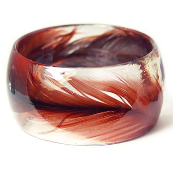 Feather Jewelry-  Red Feather Bangle- Red Jewelry- Resin Jewelry- Flower Bangle- Black Bracelet
