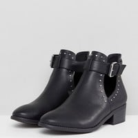 ASOS DESIGN Ace Studded Cut Out Ankle Boots at asos.com