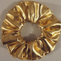Metallic gold hair scrunchie
