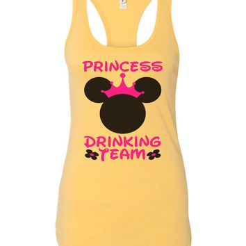 Womens Princess Drinking Team Grapahic Design Fitted Tank Top