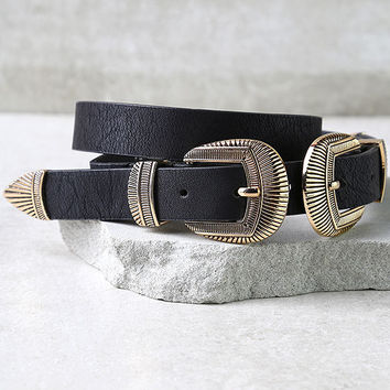 No Wonder Gold and Black Double Buckle Belt