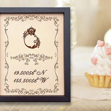 Personalised Wedding Gift Coordinates : Engraved Wedding Third Anniversary Gift Personalized Anniversary Gift ...