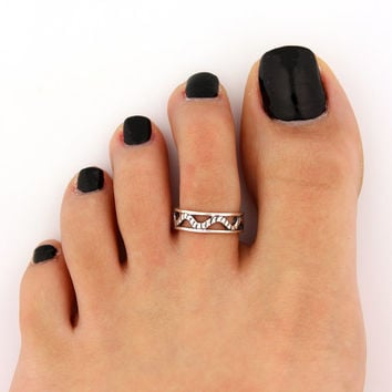 toe ring sterling silver toe ring snake design adjustable toe ring (T-68) Also knuckle ring