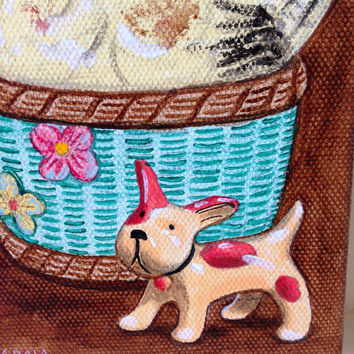 "Original oil painting, Still Life ""Chicken in Basket & Dog"" 4x6 Kitchen wall art, ceramic chicken/dog painting, Whimsical, Humorous Realism"