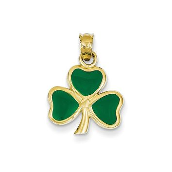 14k Yellow Gold & Green Enameled Three Leaf Clover Pendant, 15mm