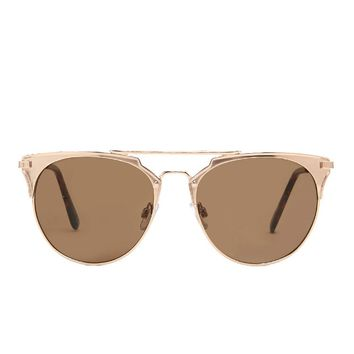 Matte-Accent Aviator Sunglasses