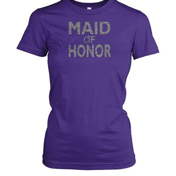 Maid of Honor Silver Glitter Gifts , Women Tops, Bridal Party Shirt