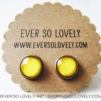 Fall Fashion - Canary yellow round stud earrings