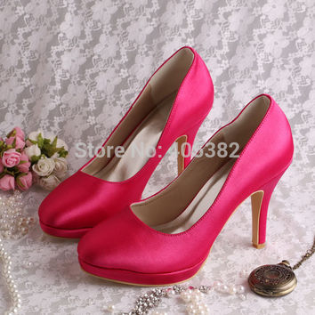 20 COLORS Drop Shipping Discount Custom Hot Pink Womens Wedding Bridal Shoes Size 12
