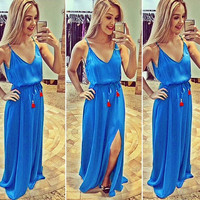 Feelingirl new fashion blue sling V-neck sleeveless sexy female dress = 1697067268