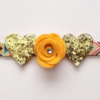 Tribal Yellow Aztec Headband, Gold Hearts Headband, Summer Headband, Glitter hearts Headband, Meghan and Julie,Headband, Spring headband