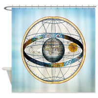 Ptolemy's Zodiac Map Shower Curtain -  Antique World  Map Globe , solar system  - Home Decor - Bathroom - maps