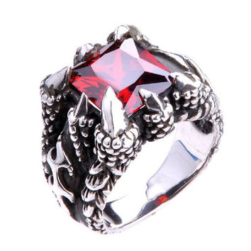 Beautiful Garnet Gemstone Ring for Men's .925 Silver Jewelry Fashion-Size 9