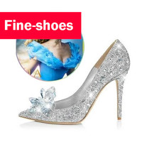 2017 New Glitter Rhinestone High Heels Cinderella Shoes Women Pumps Pointed toe Woman Crystal Wedding Shoes Zapatos Mujer 718