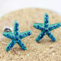 Full Drill Blue Starfish Stud Earrings from LOOBACK FASHION STORE