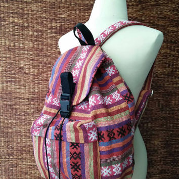 Backpack Tribal Boho southwestern Ethnic Styles Festival Hill tribe Woven design Overnight travel Holiday bag luggage Hippies cute Pink red