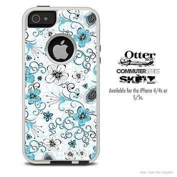 The Abstract Blue & White Flower Pattern Skin For The iPhone 4-4s or 5-5s Otterbox Commuter Case