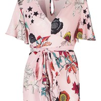 Short Sleeve Floral Tea Playsuit | Boohoo