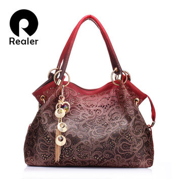 Realer Brand designer handbag female PU leather hollow out bags handbags color gradient tassel bag ladies portable shoulder bag
