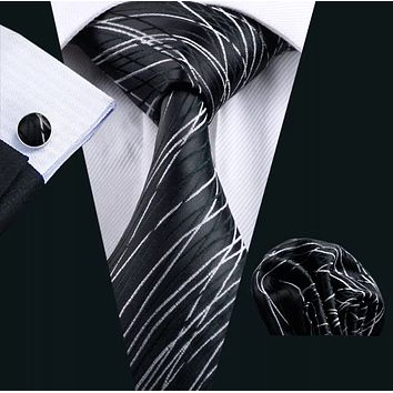 Men's Silk Coordinated Tie Set - Black Silver Striped