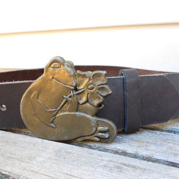 Vintage Leather Belt with Brass Frog Buckle HTF by TheRetroStudio